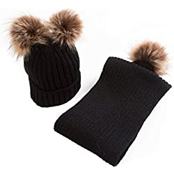 Dabixx Baby Knitted Warm Hats Bufandas Invierno Fur Ball Boy Girl Gorro de béisbol Infant Infante Hat Hat Set - Negro