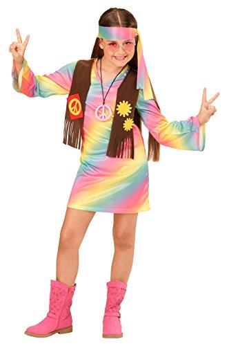 Widmann 73357 - Kinderkostüm Hippie Mädchen, Kleid angenähte Weste und Stirnband, Regenbogen, Größe (Kostüm Hippie Blumenkind Ideen)
