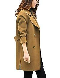 Bavero Giaccone Elegante Manica Breasted Autunno Classiche Lunga Invernali Cappotti Double Moda Monocromo Giubotto Casual Donna X18tf4