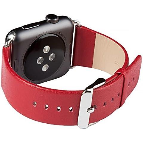 Cinturino per Apple Watch Series 1 & 2, FUTLEX 38mm Ricambio Cinturino (Adattatori inclusi) in Vera Pelle Classic con Fibbia in Metallo per Apple Watch - Rosso - 4 Link Bracciale In Oro