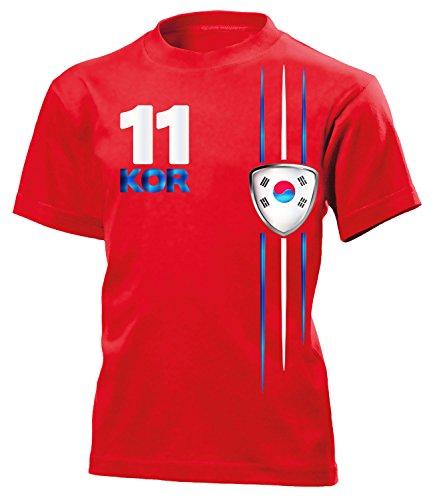 South Korea Fan Streifen 3312 Fussball Kinder Kids Jungen Mädchen Unisex Fanshirt Shirt Tshirt Fanartikel Artikel T-Shirts Rot 116