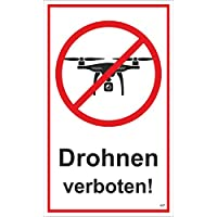 Drohnen verboten! 250 x 150 mm Warning- description- and prohibition-sign PST-plastic