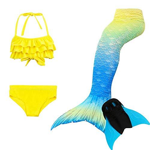 4-Teiliges Set Mädchen Badeanzug Beste Meerjungfrauenschwanz Mit Meerjungfrau Flosse Zum BadeanzüGe Kinder Prinzessin Cosplay Kostüm Bikini Schwimmen