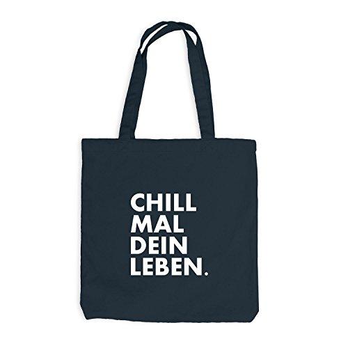 Jutebeutel - Chill mal dein Leben - Chilln Relax Weed Dunkelgrau