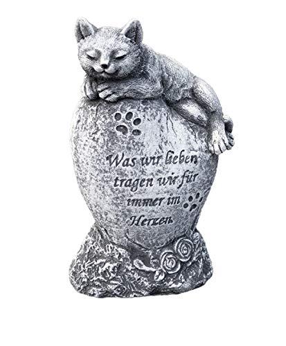 Grabschmuck KatzeWas Wir Lieben., Frost- und Wetterfest, massiver Steinguss