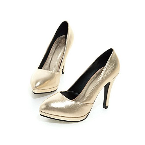 AllhqFashion Damen Spitz Zehe Ziehen Auf Pu Leder Hoher Absatz Pumps Schuhe Golden