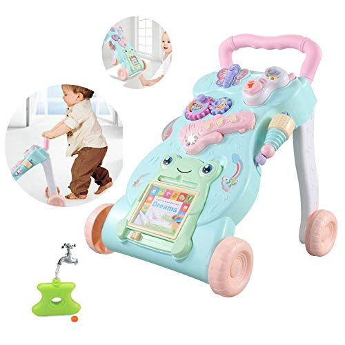 Baby Walker Surreal Walk und Multi-Funktions-Play Tray Entertainment Kinderspielzeug 2 in 1 Musikalisches Sound & Light Activity Center Push Along Walker