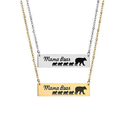 PURROMM Mama Halskette, Thanksgiving Kleiner Bär Anhänger Körperschmuck Geschenk für ihren Geburtstag Jubiläumsgeschenk Party Tochter Zubehör täglichen Schmuck,Silver