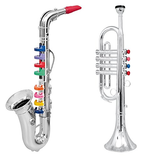 Click N 'Play Set von 2 Musical Wind Instrumente für Kinder – Metallic Silber Saxophon und Trompete Horn (Toy Musical Instrument Set)
