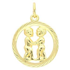 MyGold Sternzeichen Anhänger Zwillinge (Ohne Kette) Gelbgold 333 Gold (8 Karat) Diamantiert Innen Offen Ø 15mm Rund Tierkreiszeichen Horoskop Geschenke Gavno A-04433-G302-Zwi