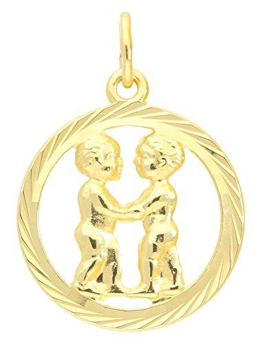 MyGold signe du zodiaque Pendentif jumeaux (sans chaîne) or or jaune 333/1000(8cts)–Diamant Floral Intérieur ouverte Ø 15mm rondes zodiaque horoscope cadeaux Idées de cadeau de gavno A 04433G302de Zwi