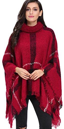 Charmley Femme Poncho Cape Carreaux Lâche avec Franges Cape Col-Montant Manteau Tricoté Veste Pull épais Rouge