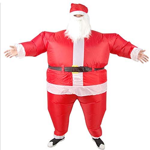 Santa Claus aufblasbare Chub Suit Kostüm mit Bart und Hut, Halloween Weihnachten Erwachsene Kinder Parenting lustige Party Aktivität Leistung Kostüme Santa Claus Inflatables