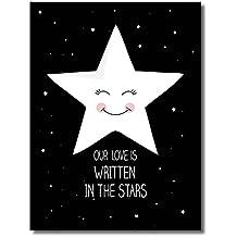 Raybre Art® 30 x 40cm Impresión sobre Lienzo Cuadro Estrellas Blanco Negro Abstractos Modernos Cartoon Pintura al óleo para Arte Pared Decoración Hogar Sala Dormitorio Infantiles, sin marco u bastidor