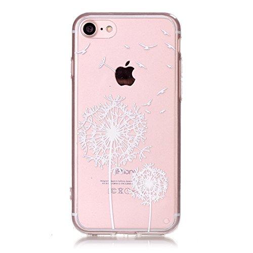 iPhone 7 Hülle, E-Lush Beliebte Traumfänger Muster für Apple iPhone 7 7S (4.7 zoll) Telefonkasten TPU Silikon Rand Acryl Rückseite Abdeckung Handyhülle Clear Transparent Schutzhülle Weiche Flexibel Ha Weiß Löwenzahn