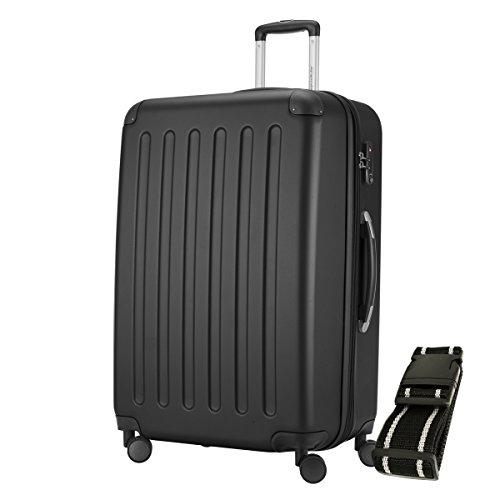 HAUPTSTADTKOFFER® Hartschalen Koffer SPREE 1203 · 128 Liter · MATT · TSA Zahlenschloss · + GEPÄCKGURT (Schwarz)