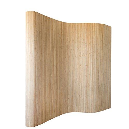 *Homestyle4u 302, Raumteiler Bambus, Wellenform Rollbar, Braun Matt, BxH 250×200 cm*