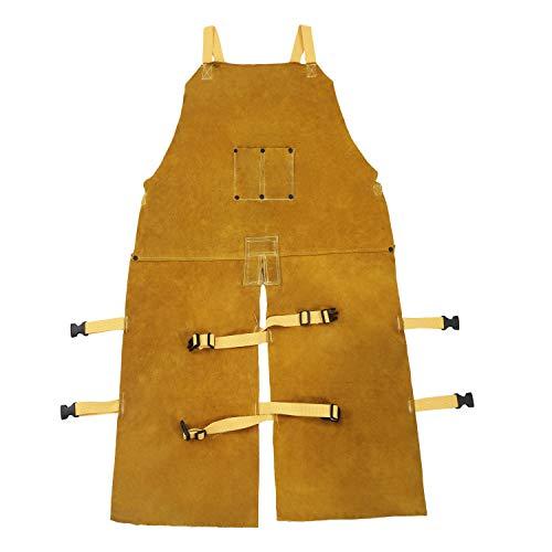 Mufly Lang Anti-Flamme Schweißerschürze Welding Schutzkleidung aus Rindleder Lederschweiß-Latzschürze mit Geteiltem Bein AnzugSchweißer -