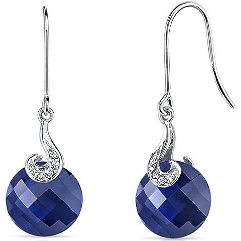Revoni 14ct de oro blanco de corte redondo TableroY 10,50 quilates creado zafiro azul diamante pendientes