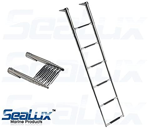 SeaLux Marine Stainless Steel Heavy Duty 6 Step WIDE BODY OVER PLATFORM TELESCOPING Swim Ladder by SeaLux Marine Products