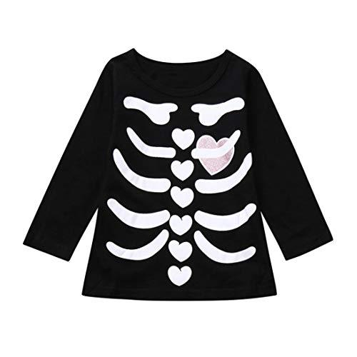(HUKZ Baby Mädchen Druck Lange Ärmel T-Shirt Tops-Skelett Print Tops Halloween Kostüm Outfits Set (Rosa, 100))