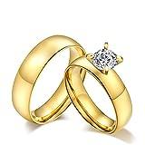 Blisfille Ring Gold Vintage Ehering Für Männer Damen Herren Titanring Schlicht Gewölbt Hoch Poliert Glänzend Zirkonia Verlobung Paarpreis Kostenlos Gravur 1 Paar Ringe Für Paare