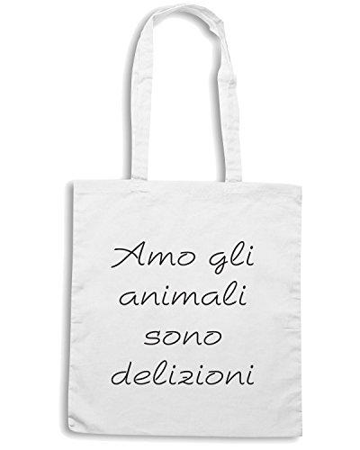 T-Shirtshock - Borsa Shopping TDM00021 amo gli animali sono deliziosi Bianco