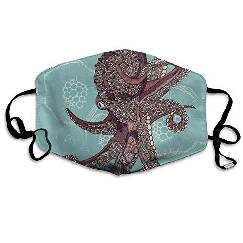 Vbnbvn Unisex Mundmaske,Wiederverwendbar Anti Staub Schutzhülle,Gesichtsmaske Octopus and Jellyfish Anti Pollution Washable Reusable Mouth Masks for Man Woman