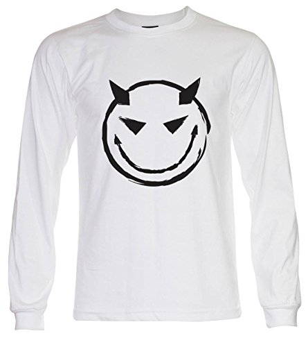 PALLAS Unisex's Evil Bad Smiley T Shirt White Long Sleeve
