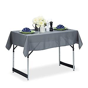 Relaxdays Tischdecke wasserabweisend, pflegeleicht, Polyester-Tischtuch, bügelfest, Gartentischdecke eckig 110×140, grau