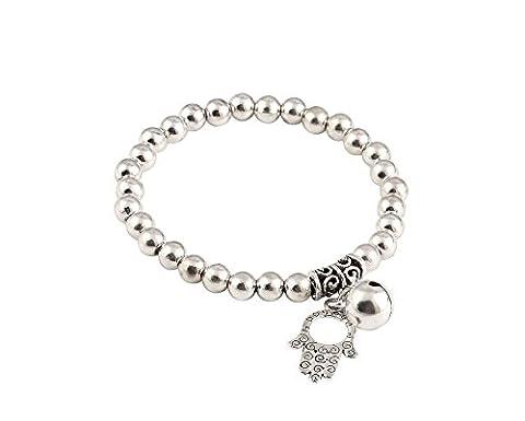 Bracelet Perles Rondes 5mm avec Pendentif Hamsa et Cloche Tibétaine,