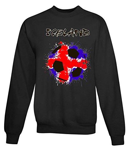 Billion Group | Iceland Flag | Football Sport Illustration | Women's Unisex Sweatshirt Noir