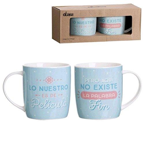 Lama Pack de Mugs, Cerámica, Azul, 25x10x10 cm, 2 Unidades