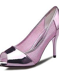ZQ Zapatos de mujer-Tac¨®n Robusto-Tacones-Tacones-Oficina y Trabajo / Vestido / Casual-Microfibra-Rosa / Blanco / Gris / Beige , white-us2.5 / eu32 / uk1 / cn31 , white-us2.5 / eu32 / uk1 / cn31