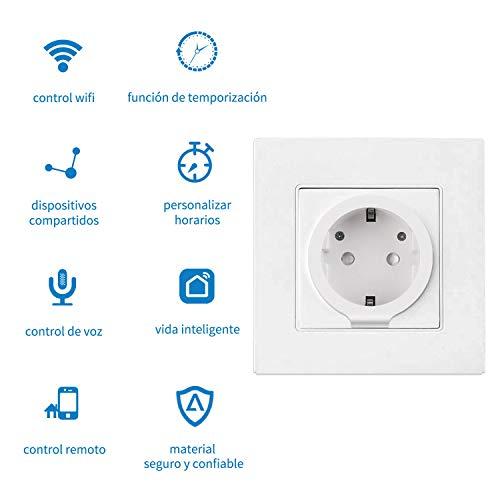 Enchufe Inteligente Wifi AISIRER Inalámbrico Smart Mini Monitor de Energía del Zócalo del Interruptor Compatible con Alexa Google Asistente,  no se requiere Hub,  con Control Remoto,  para Android/IOS