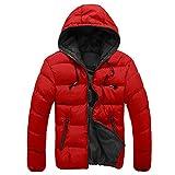 Giubbotto Uomo,Kword Piumino Invernale Giubbino Casual Giacca Moto Cappuccio Men Slim casual caldo giacca invernale Hooded cappotto Parka Cappotto Felpa (Rosso, L)