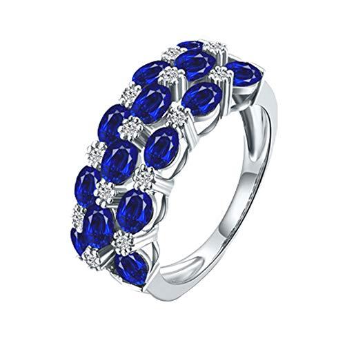 YCGEMS Solider Ring aus 18 Karat Weißgold mit natürlichem blauem Saphir, Verlobungsschmuck für Hochzeiten,L1/2