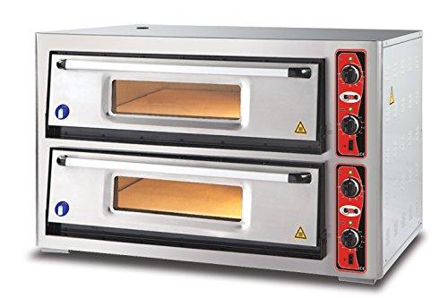 GMG Profi Pizzaofen CLASSIC PF 9292 DE für Gastronomie, 2 Backkammern / Doppelkammer dual - 9 + 9 x Ø 30 cm Pizzen - 92x92x15cm, bis zu 450°C (Ober- und Unterhitze getrennt regelbar)