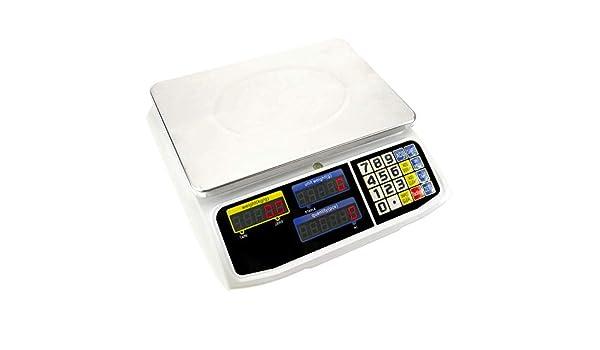 PrimeMatik Waage Z/ähler mit 300x205 mm Wiegeteller und 30 Kg f/ür Gesch/äfte und L/äden
