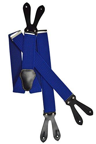Olata unisex bretelle regolabili con vera pelle asole, 4cm larghezza - blu royal