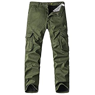 Men's Cargo Regular Trouser Army Combat Work with Fleece Trouser Workwear Pants with Multi-Pocket #4208 Army Green 32