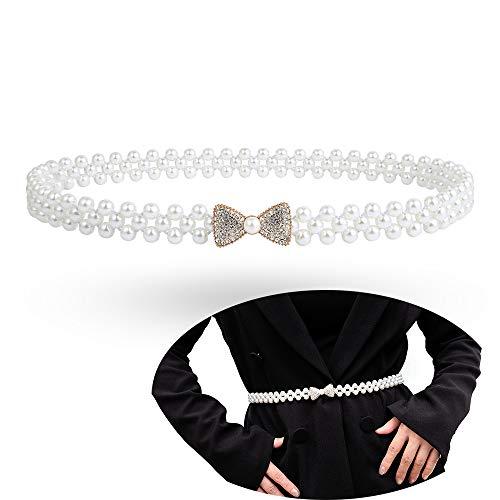 Jurxy Körper Bauch Taille Kette Bikini Strand Körperkette Bauchgürtel Bauchkette Imitat Perle Taille Kette für Frauen - Bogen Stil 2 - Taille Perlen