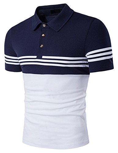 YCHENG Herren Basic Kurzarm Poloshirts Hemd Shirts Sommer Freizeit Sport T-shirt Blau