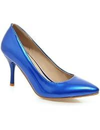 ad982c066e7292 AllhqFashion Damen PU Hoher Absatz Spitz Schließen Zehe Rein Ziehen auf Pumps  Schuhe