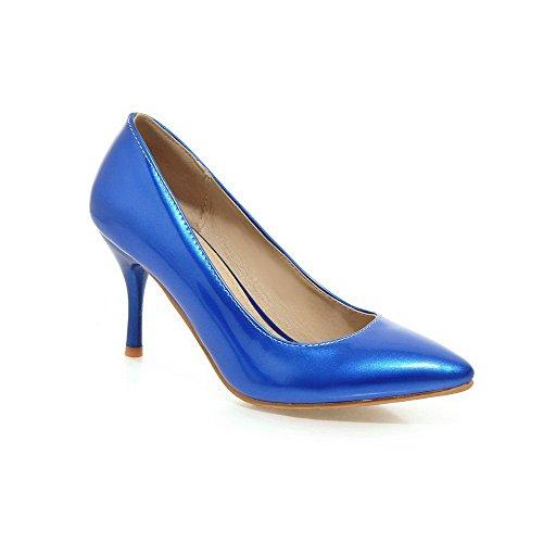 VogueZone009 Femme Tire à Talon Haut Pu Cuir Couleur Unie Pointu Chaussures Légeres Bleu