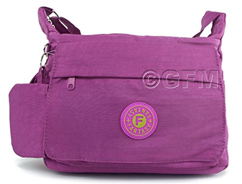 GFM borsa a tracolla multitasca con cerniera, in nylon leggero Style 1 - Light Purple (HLJMN)