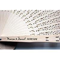 20 Abanicos de sándalo personalizados grabados a laser nombre de los novios