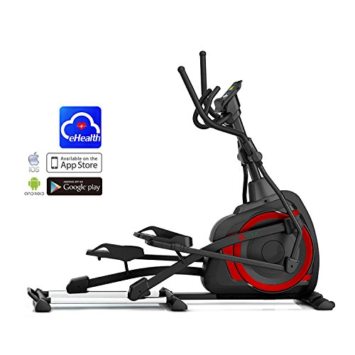 AsVIVA Unisex - Adult Elliptical Trainer and Ergometer E4 Pro Bluetooth, Black/Red, One Size