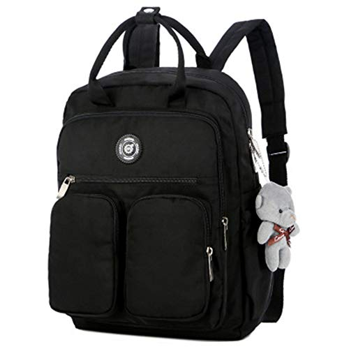 Mode Damen Rucksack wasserdicht Nylon Griff solide mehrfach reiserucksack schwarz 27 * 10 * 38 cm (Badland-räder)