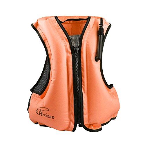 Rrtizan Aufblasbare Schwimmweste Rettungswesten Festtoffweste ideal Für Erwachsene für den Wassersport, Auftriebshilfe, Orange